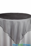 "Table Topper Sheer Organza 80"" Square Overlay - Ruffled Edge - Black"