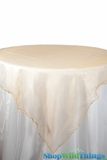 "Table Topper Sheer Organza 80"" Square Overlay - Ruffled Edge - Gold"