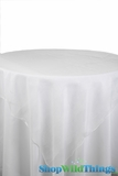 "CLEARANCE - Table Topper Sheer Organza 80"" Square Overlay- Ruffled Edge - White"