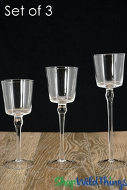 """Tall Glass Candle Holders - Set of 3 - Cylinders & Long Stem - 8"""", 9"""", 10"""""""