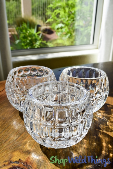 Tealight Holders- Glass Set of 3 Assorted Embossed Glass Patterns