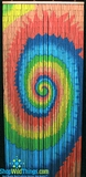 Tie Dye Psychedelic Swirl Bamboo Painted Beaded Curtain 90 Strands