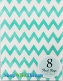 "Treat Bag, Chevron, Aqua, 5"" x 7"", 8 Ct"