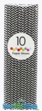 Paper Straws, Chevron, Black, 10 Ct