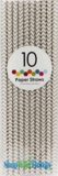 Paper Straws, Chevron, Gray, 10 Ct