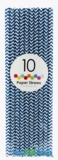 Paper Straws, Chevron, Navy, 10 Ct