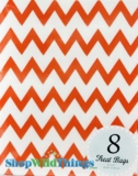 "Treat Bag, Chevron, Orange, 5"" x 7"", 8 Ct"