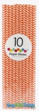 Paper Straws, Chevron, Orange, 10 Ct