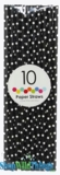 Paper Straws, Polka Dots, Black, 10 Ct