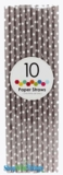 Paper Straws, Polka Dots, Gray, 10 Ct