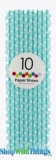 Paper Straws, Polka Dots, Light Blue, 10 Ct