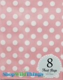 "Treat Bag, Dots, Light Pink, 5"" x 7"", 8 Ct"