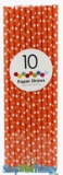 Paper Straws, Polka Dots, Orange, 10 Ct