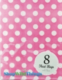 "Treat Bag, Dots, Pink, 5"" x 7"", 8 Ct"