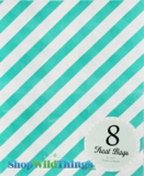 "Treat Bag, Stripes, Aqua, 5"" x 7"", 8 Ct"