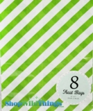 "Treat Bag, Stripes, Green, 5"" x 7"", 8 Ct"