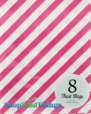 "Treat Bag, Stripes, Pink, 5"" x 7"", 8 Ct"