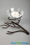 "Tree Branch Iron Single Conelet Candle Holder  -""Sasha"""