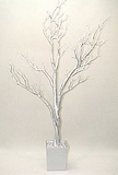 Tree in Pot, 4 Feet Tall - Silver (LIGHT Glitter) - Bendable