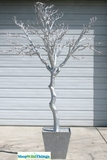 Tree in Pot, 9 Feet Tall - Silver w/ Glitter in Square Pot