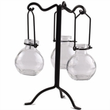 "Tripled Branches 9.5"" Metal Stand for Hanging Candles & Bottles"