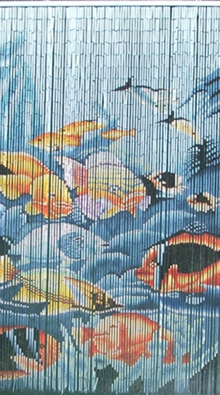 Tropical Fish Serenity Bamboo Painted Beaded Curtain