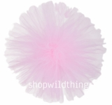 "Tulle Ball Pom Poms-  10"" Pink -  Set of 4"