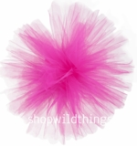 "Tulle Ball Pom Poms-  12"" Fuchsia -  Set of 4"