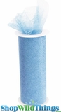 "Tulle Roll w/Glitter, Light Blue 6"" x 10 yds"