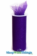 "Tulle Roll w/Glitter, Purple 6"" x 10 yds"