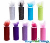 """Tulle Spools With Glitter - 6"""" x 10 Yards - 14 Colors"""