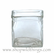 "Vase or Candle Holder - Clear Glass Cube - ""Carrington"" - 4"" x 4"" x 4"""