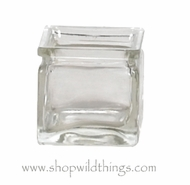 "Vase or Candle Holder - Clear Glass Cube - ""Castalia"" - 2.375"" x 2.375"" x 2.375"""