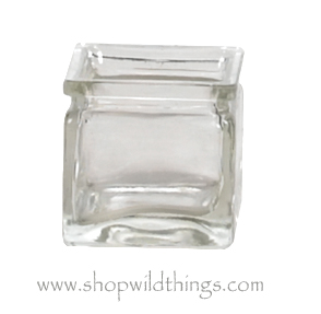 """INVENTORY REDUCTION SALE Vase or Candle Holder - Clear Glass Cube - """"Castalia"""" - 2.375"""" x 2.375"""" x 2.375"""""""