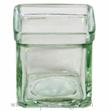 "Vase or Candle Holder - Clear Glass Cube - ""Chanel""  - 3"" x 3"" x 3"""