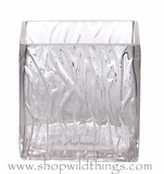 "CLEARANCE Vase or Candle Holder - Ice Pattern Glass Cube - ""Aveena"" - 5"" x 5"" x 5"""