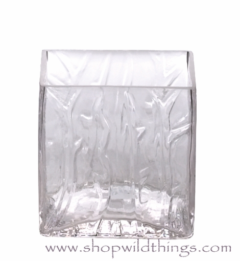 "INVENTORY REDUCTION SALE Vase or Candle Holder - Ice Pattern Glass Cube - ""Aviana"" - 4"" x 4"" x 4"""