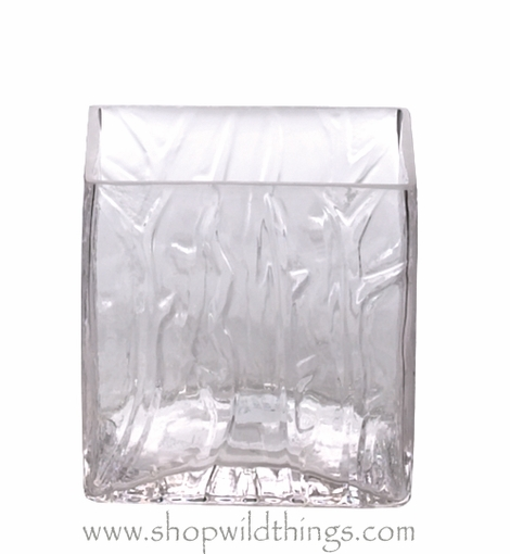 "Clearance - Vase or Candle Holder - Ice Pattern Glass Cube - ""Clio"" - 3"" x 3"" x 3"""