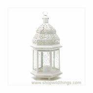 "Vine Patterned Glass White Candle Lantern - ""Aladdin"" - Large"
