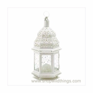 "Vine Patterned Glass White Candle Lantern - ""Aladdin"" - Medium"