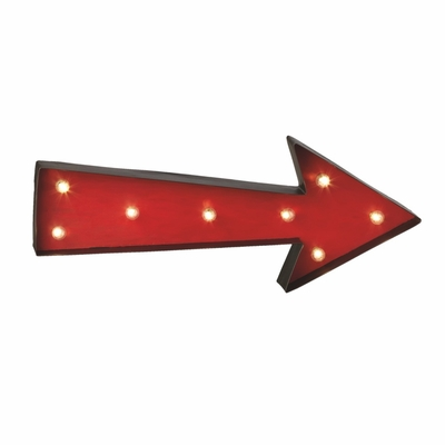 Wall Mounted LED Vintage Red Arrow Metal Sign Marquee ...