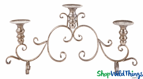 "CLEARANCE! Candle Holder Large Event Centerpiece Gold ""Iron Scrolls""  - 25 x 4 x 13"""