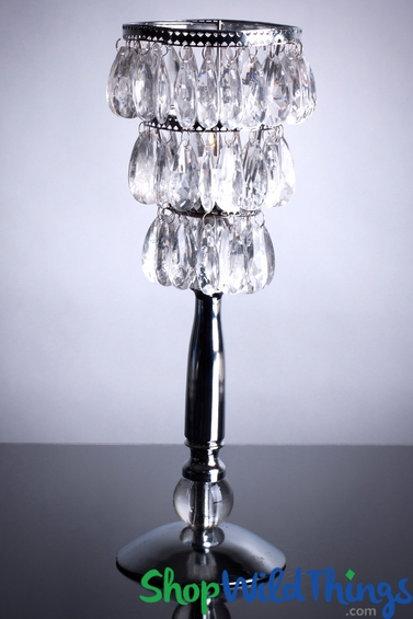 "Crystal Beaded Candle Lamp - 14"" Tall  ""Bebe"""
