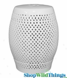 "White Ceramic Garden Stool ""Maddi"""