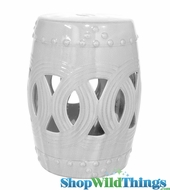"White Ceramic Garden Stool - ""Margo"""