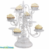 """White Fancy Serving Stand """"Alina"""" - 9 Arm with Crystals Beads"""