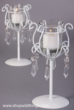 "White Glass & Crystal Candle Holders - Set of 2 - ""Debbie"""