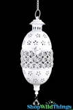 "White Metal Candle Lantern Beaded Hanging 13"" - White"