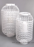 "CLEARANCE - White Metal Lanterns Set of 2 - ""Bountiful"" - Large"