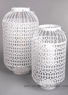 "White Metal Lanterns Set of 2 - ""Bountiful"" - Large"